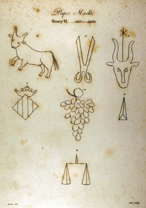 Watermarks from paper used by the Pastons, reproduced in the Fenn edition