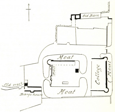 A plan of the castle from a publication of 1897. The dark black lines indicate the current standing walls and buildings.
