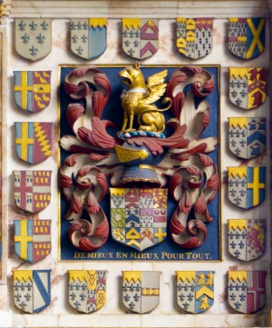 The display of family arms above the tomb of Sir William Paston, North Walsham