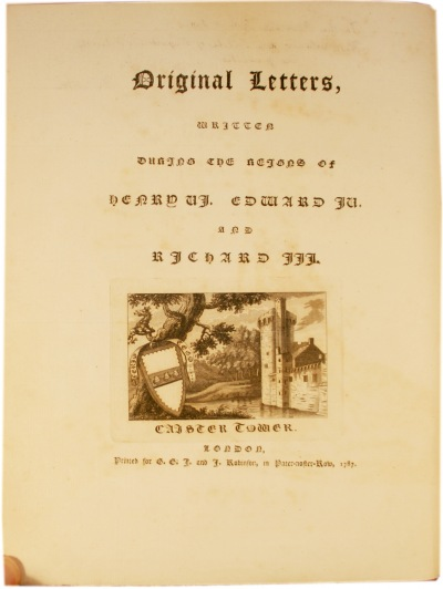 The title page to Fenn's edition of The Paston Letters.