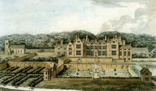 A study by John Adey Repton from 1809. Given that the hall had been demolished several decades earlier, it has to be regarded as somewhat speculative.