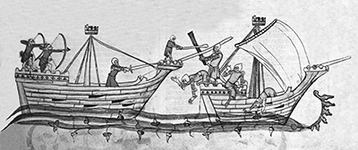 A medieval depiction of fighting at sea - Yarmouth vessels were involved with the English army of Sir John Fastolf and King Henry V.